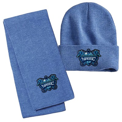 Knit Scarf and Beanie Cap Combo