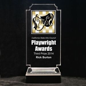"Acrylic and Marble Engraved Award - 6-3/4"" Full-Color Comedy and Tragedy Masks"