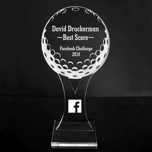 "VALUE LINE! Acrylic Engraved Award - 8"" Golf Ball and Tee - Platform Base"